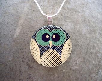 Owl Jewelry - Glass Pendant Necklace - Free Shipping - sku OWL12