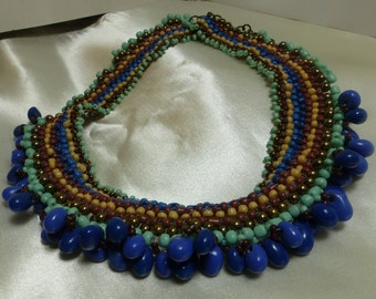 "Artisan Bead necklace collar-63 grams ( over 2 ounces) Stone beads, 1.5"" wide, 13""-extends to 15"" tourmaline 1967"