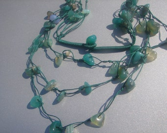 Hand Knotted 3 Strand Jade Necklace --Translucent Jade  50 grams 574.