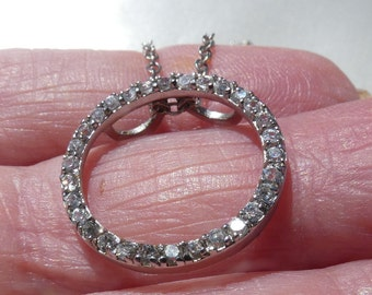"""CZ rhodium plated circle necklace - 3 grams- 22mm in diameter--17"""" long 2766"""