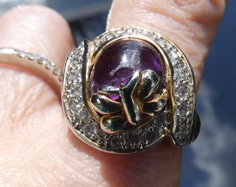 Purple glass and CZ ring--sz 10-- gold over composite metal- beautiful! face is 25X40 mm  2789
