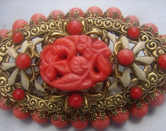 1890's CARVED SALMON CORAL brooch 34.