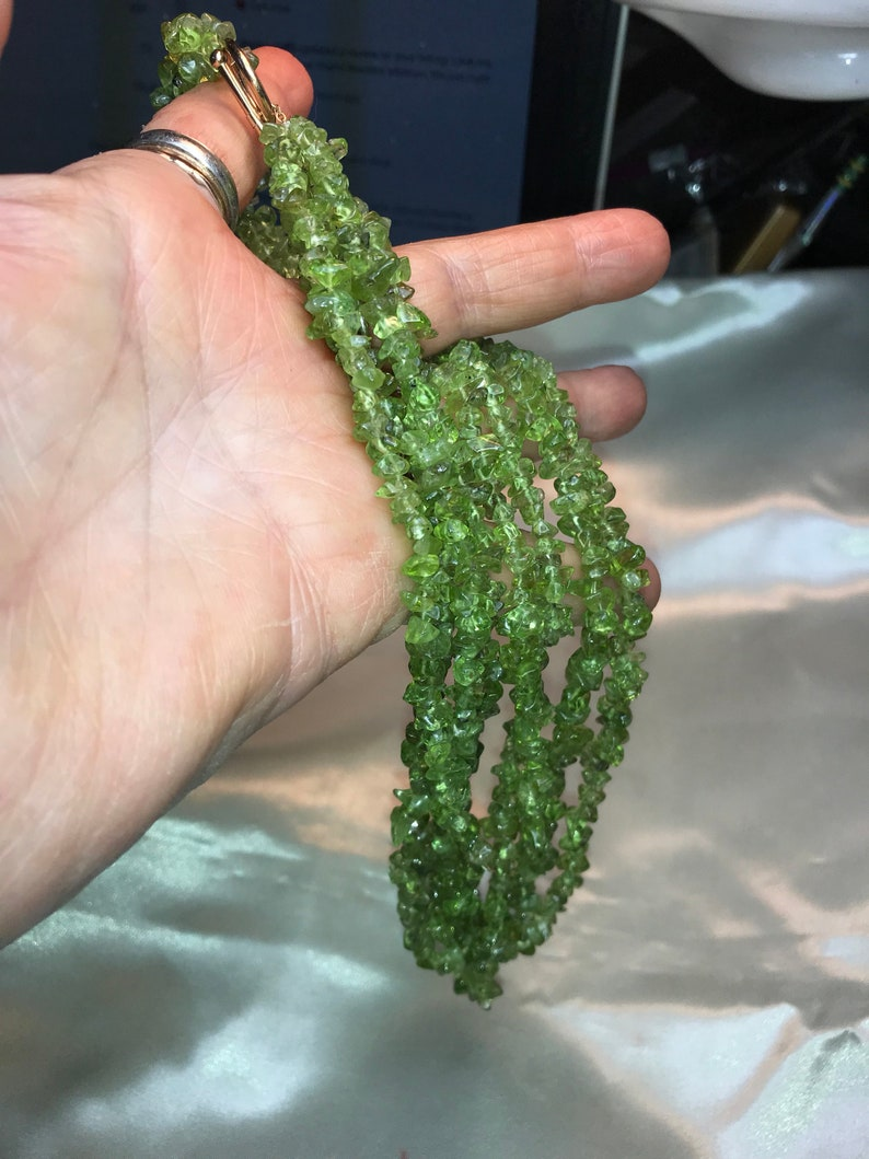 3152 Genuine peridot 90 grms or 3 ounces of peridot 17long 4 strand necklace