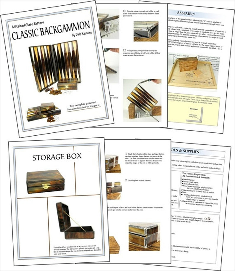 Stained Glass PDF E-Pattern Tutorial Classic Backgammon