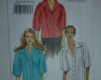 Vogue Pattern 8535 for Misses' Shirts in Sizes 16-18-20-22-24