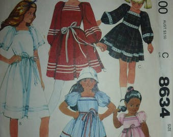 Vintage McCall's Pattern 8634 for Children's and Girl's Dress Size 8