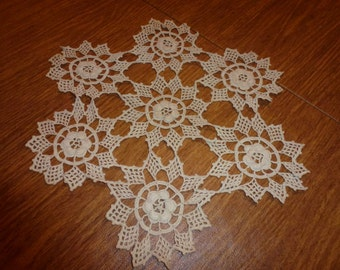 Vintage Crocheted Ecru  Doily