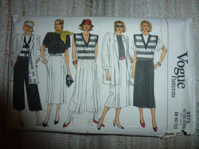 Skirt and Pants Sizes 8-10- 12 Vintage Vogue Pattern 9270  for Misses/' Jacket Top Vest