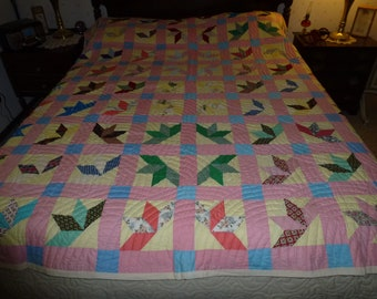 """Vintage Hand Quilted Handmade Patchwork  Quilt  85"""" by 74"""""""