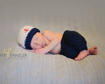 Crochet Sailor Hat and Pants