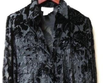 18a8e85d132 SALE Black Burnt Velvet Silk blouse with Floral print size S M