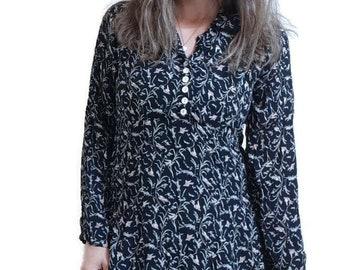 black botanical dress