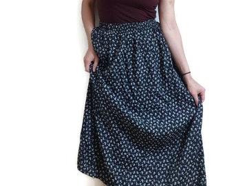botanical print maxi skirt / black white floral