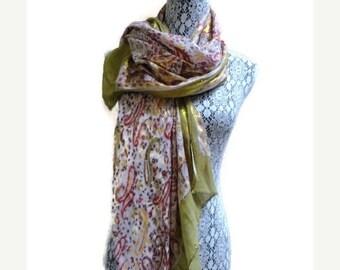 958f8bf6adb VENTE foulard ethnique métallique Paisley Wrap Inde Vintage