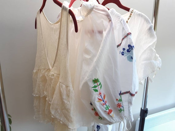 Dreamy white boho lot / embroidered blouses and dr