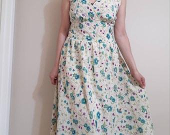 botanical print dress/ yellow floral midi / large