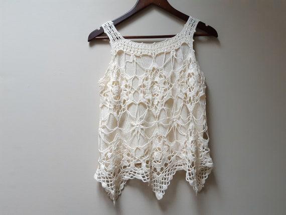 cream crochet sweater vest / vintage blouse - image 5