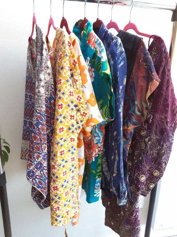 Colourful vintage lot / blouses and metallic dress