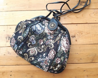 floral tapestry leather purse