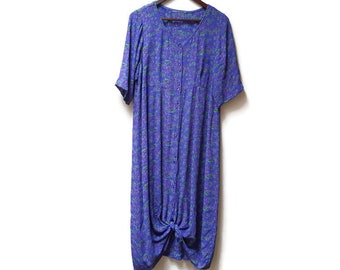 botanical print dress / purple floral maxi / xl