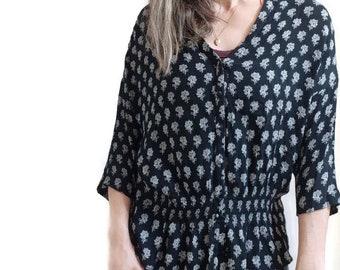 black floral rayon blouse / zara trafaluc