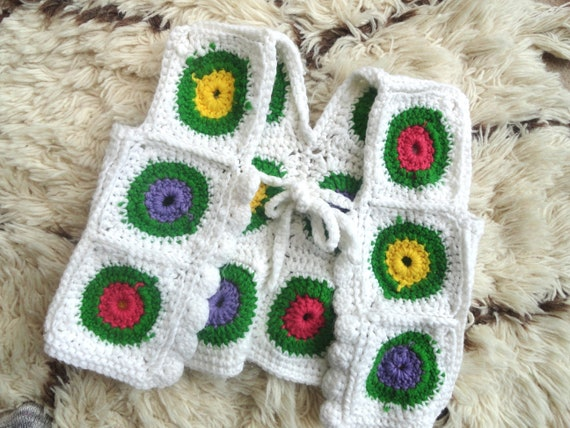 Handmade Child's Afghan Vest | Granny Square White