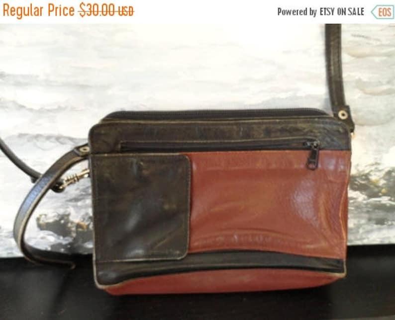 d181c6e2fede SALE Derek Alexander Purse - Crossbody Black Brown Leather Bag - Vintage 80s