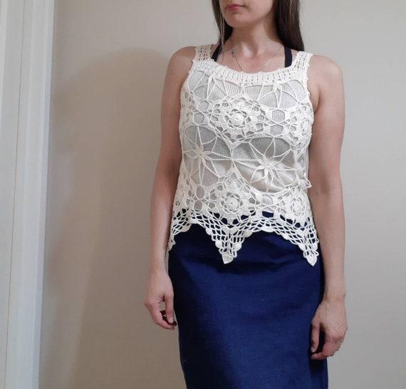 cream crochet sweater vest / vintage blouse - image 2