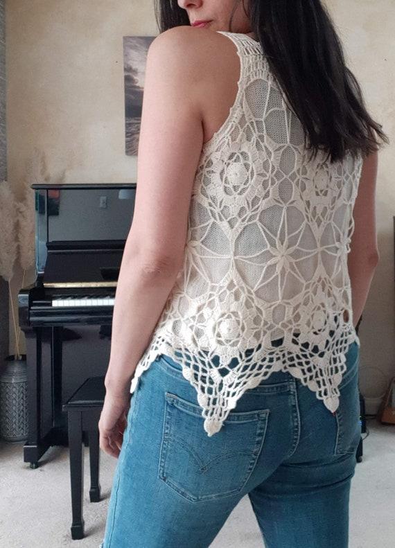 cream crochet sweater vest / vintage blouse - image 7