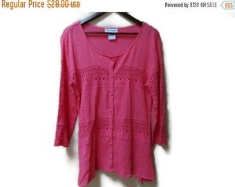 SALE Pink Crochet Blouse - Cotton Made in India - Size M L