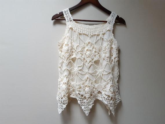 cream crochet sweater vest / vintage blouse - image 4