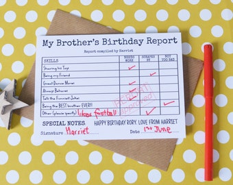 Personalised Brothers Birthday Card Report Happy For Brother