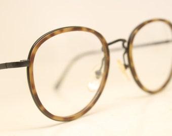 f72021acfb Vintage EyeGlass Frames Black Tortoise Combination Retro 1980 s vintage  eyewear NOS Deadstock Glasses