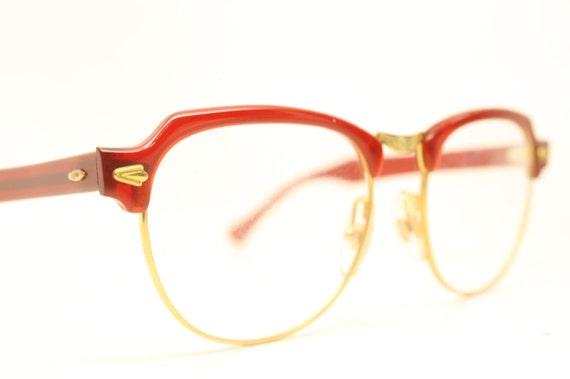 Vintage Red Browline Eyeglasses Large Gold Retro Frames | Etsy