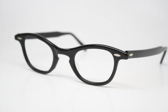 55dcef6a4e4 Black Retro Glasses Vintage Eyeglass Frames 1960 s Cateye