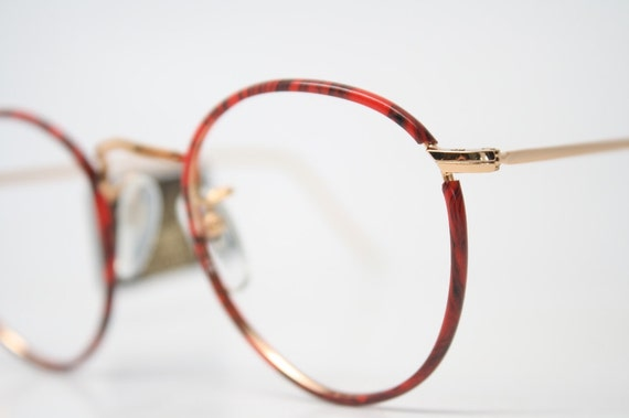 014d02b404 Vintage Red   Gold P3 Shaped Eyeglass Frames 1980s Retro