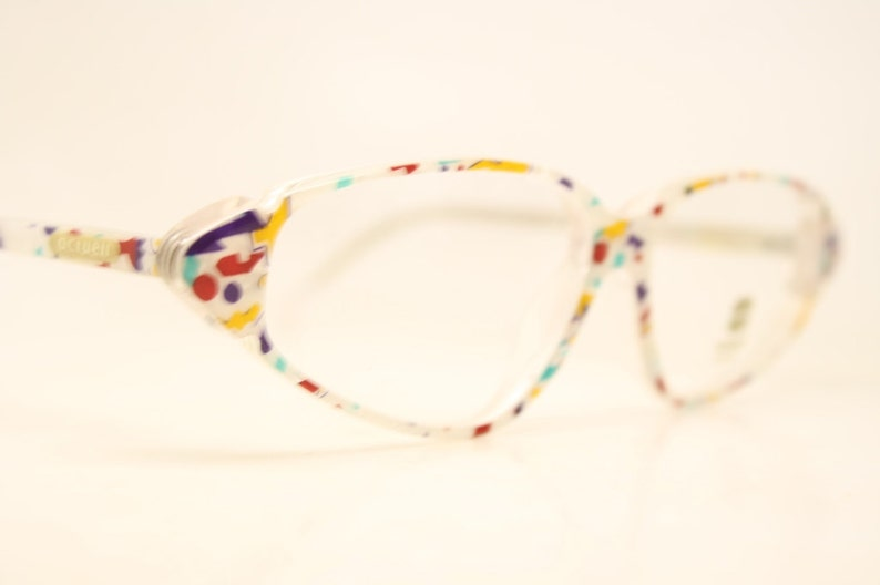 89151206502 Vintage Glasses Frames White Colorful Cat eye 1980 s