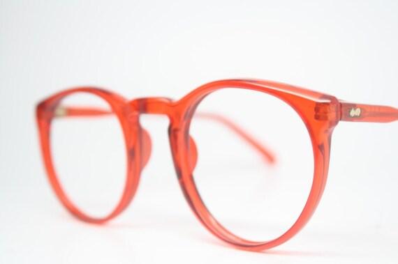 2431f67e03 Vintage Eyeglass Frames Red Retro P3 shaped 1980 s vintage