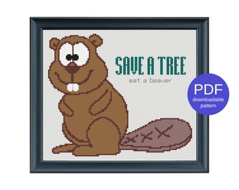 Save a Tree, Eat a Beaver Naughty Modern Instant Download PDF Funny Offensive Cross Stitch Pattern