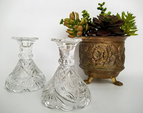 """Pair Crystal Candlesticks Candle Holders Lead Crystal Matching Set-""""Ships International"""" Email For Rates"""