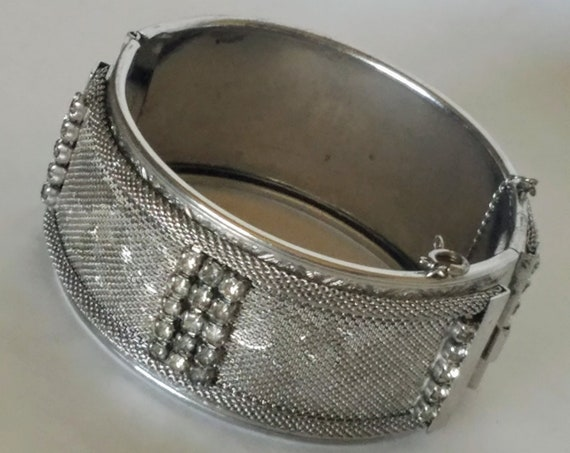 Unique VARGAS Mesh Embossed Silver-Tone Hinged Cuff Bracelet Signed With Safety Chain Sign