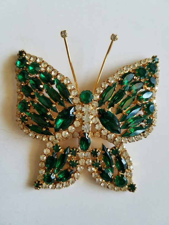 Vintage Juliana Brilliant Vintage Butterfly Brooch Sparkling Crystals Ice Rhinestones In Goldtone Setting
