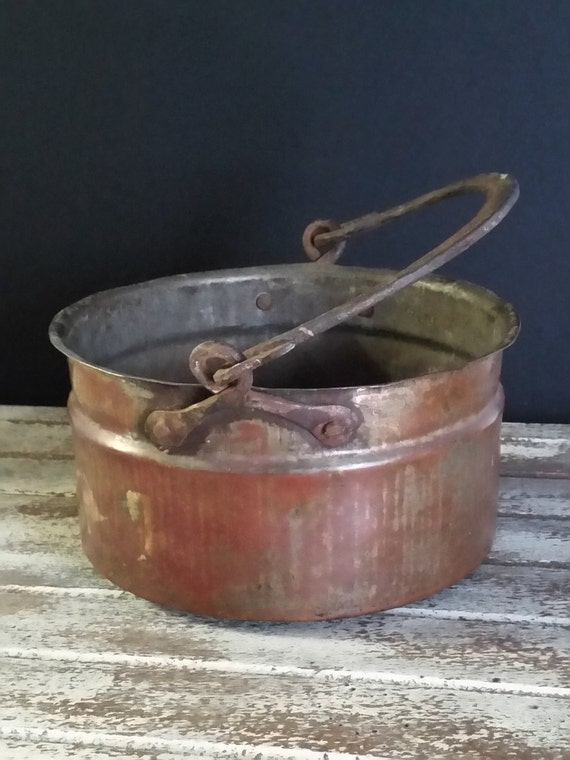 """Antique Primitive Copper Cauldron Pot Iron Forged Handle, Circa Mid 1800's -""""Ships International"""" Email For Rates"""