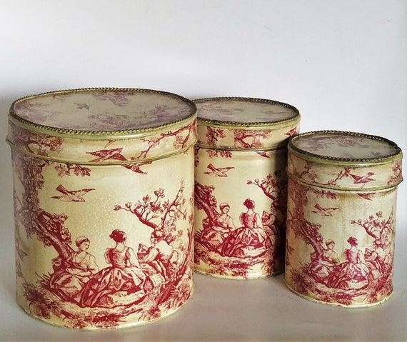 French Country Towle Metal Canister Set Of 3 Red &Cream