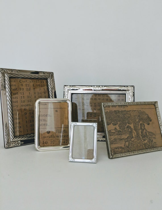 Vintage Picture Frames Ornate Set Of 5 + Interior To Place 24 More Photos Embossed Silver Plate Easel Stand