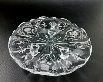 Vintage Fostoria Etched Poppy Footed Scalloped Serving Plate/Dish