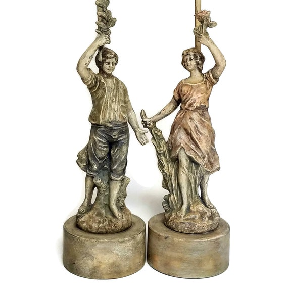 "Antique Pair Statue Lamps, Cast Metal Rare ""Art Palace 1812""  Female & Male Spelter Metal Lamps-""Ships International"" Email For Rates"