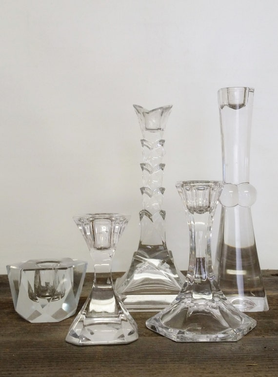 """Candlestick Candle Holder Collection Crystal Contemporary Set 5-""""Ships International"""" Email For Rates"""
