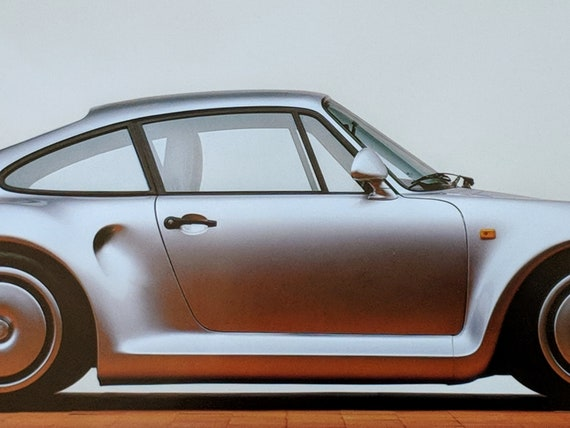 "Rare Authenic Porsche Car Print Collection- Complete Set Of 7- Photographed Porsche Car Gloss Finish Prints 8 1/2"" x 17 "" Circa 1980"