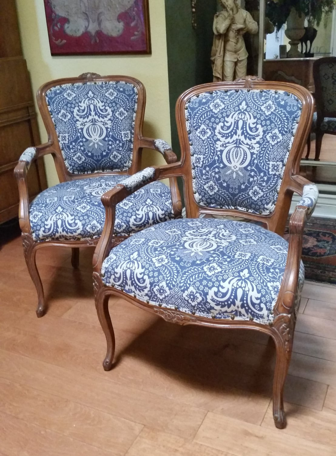 Pair Of French Style Upholstered Arm Accent Chairs Price